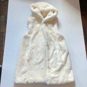 Long Faux Fur, Teddy Vest, Cream, Forever 21, S